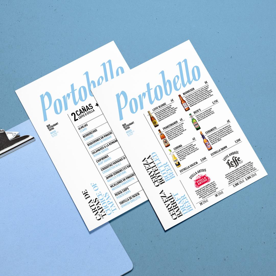 Portobello restaurant clipboard